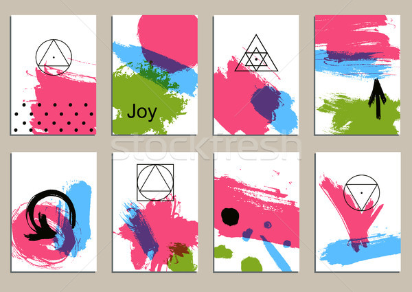 Set of universal cards. Hand Drawn textures.  Vector. Isolated. Stock photo © Mamziolzi