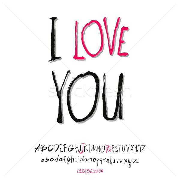 Ilove you hand lettering Stock photo © Mamziolzi