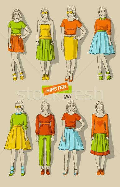 Stock fotó: Divat · lányok · hipszterek · szett · gyönyörű · nők