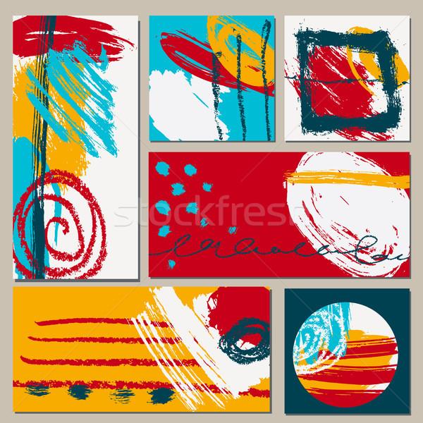 Set universal Karten Hand gezeichnet Texturen Vektor Stock foto © Mamziolzi