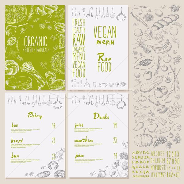 Restoran organik doğal vegan gıda menü Stok fotoğraf © Mamziolzi