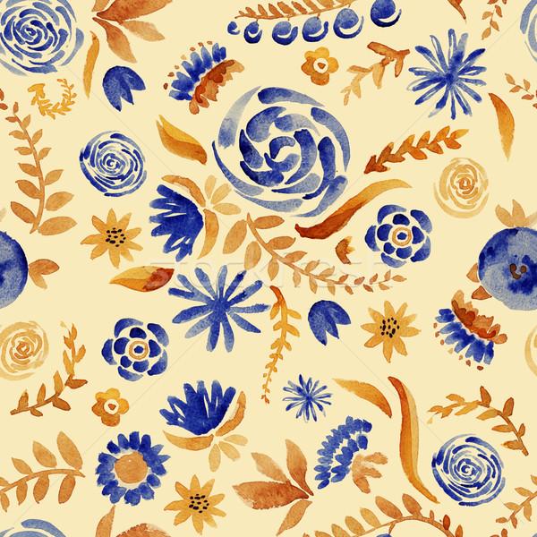 Stockfoto: Bloemen · aquarel · patroon · steeg
