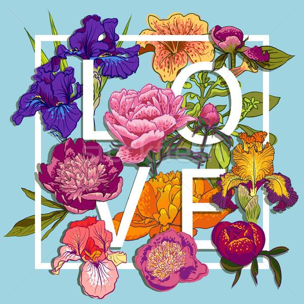 Liefde grafisch ontwerp kleurrijk bloemen tshirt Stockfoto © Mamziolzi
