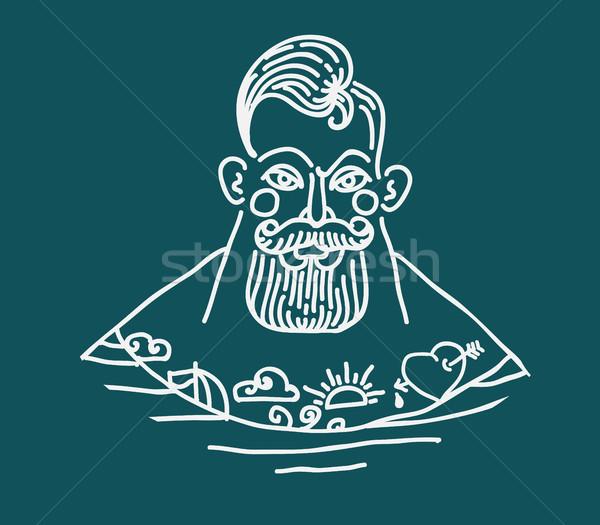 肖像 あごひげを生やした 入れ墨 船乗り 手描き 手 ストックフォト © Mamziolzi
