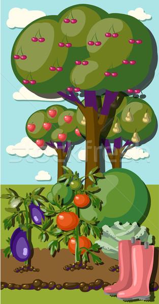 Vintage giardino banner radice famiglia albero Foto d'archivio © Mamziolzi