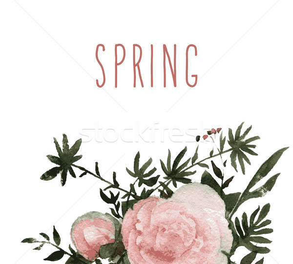Stock photo: Hand Painted flowe vector