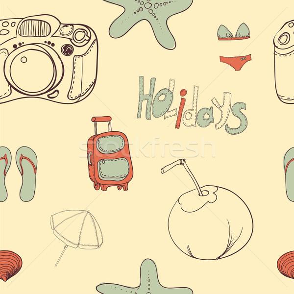 Summer holiday seamless ornament pattern  Vector illustration. Stock photo © Mamziolzi