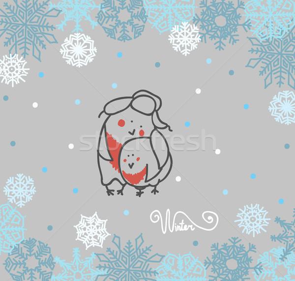 Funny birds bullfinch on winter background snowflakes  Stock photo © Mamziolzi
