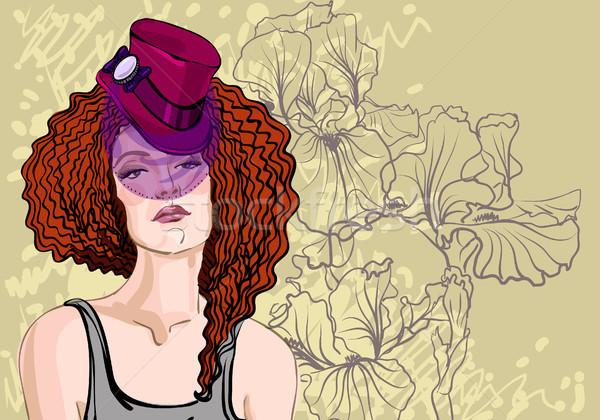 Nő vörös haj vektor portré gyönyörű nő virágmintás Stock fotó © Mamziolzi