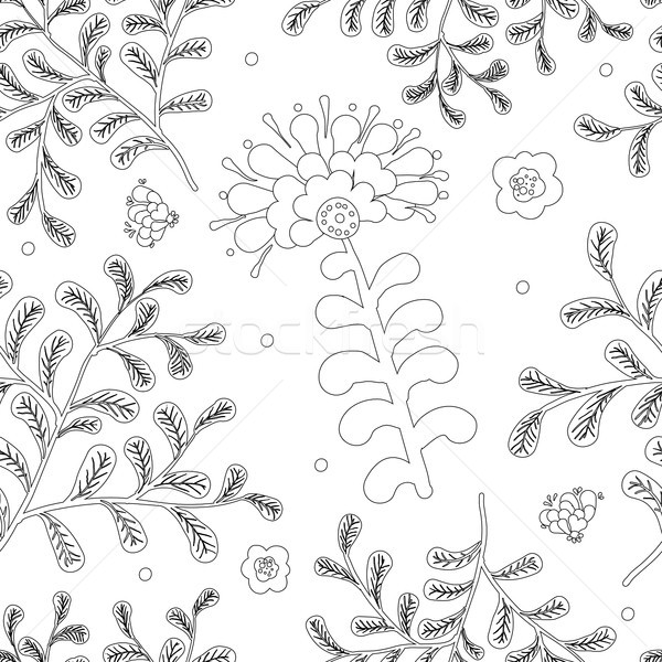 Elegance Seamless pattern with flowers for coloring book Stock photo © Mamziolzi