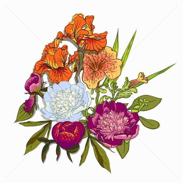 цветочный графического дизайна красочный цветы футболки моде Сток-фото © Mamziolzi
