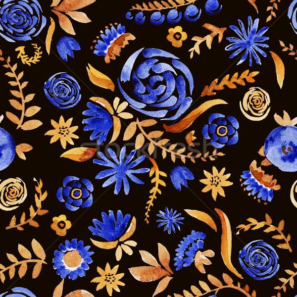 Сток-фото: цветы · акварель · шаблон · цветочный · закрывается