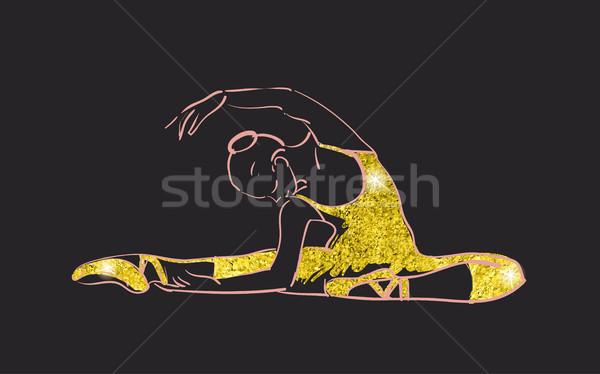 Vettore sketch ragazze ballerina piedi tessitura oro Foto d'archivio © Mamziolzi