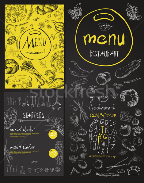 Restaurant Food Menu set Vintage Design with Chalkboard  Stock photo © Mamziolzi