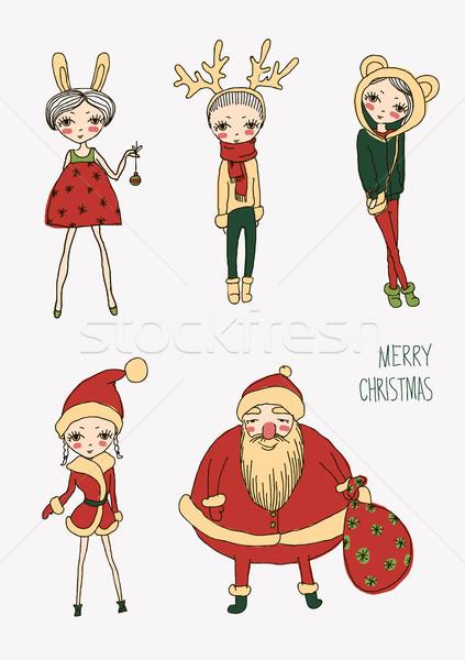ストックフォト: クリスマス · 面白い · 女の子 · セット · ベクトル
