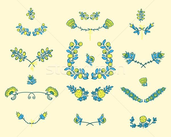 セット フローラル グラフィックデザイン 要素 対称の 春 ストックフォト © Mamziolzi