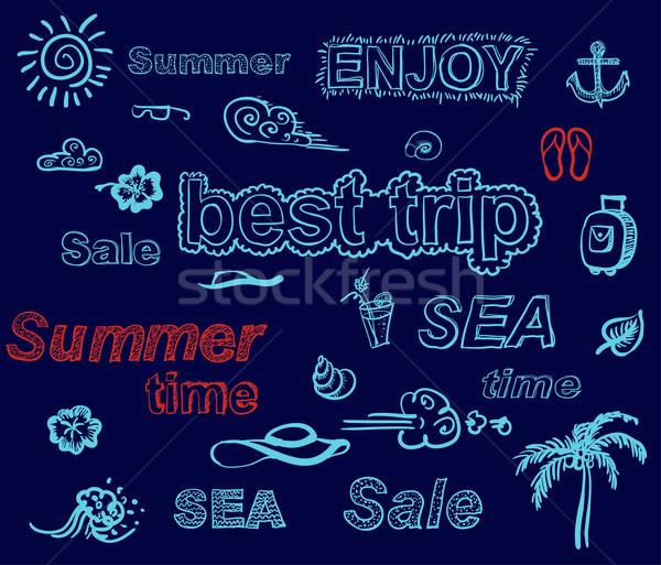Foto stock: Retro · elementos · verano · diseños · todo