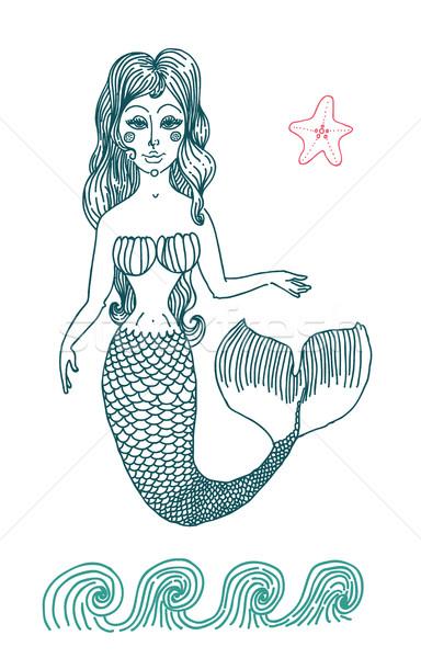 Deniz Kızı Uzun Kıvırcık Saçlı Vektör Grafik çizim