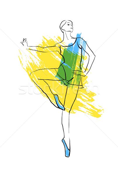 Stockfoto: Vector · hand · tekening · ballerina · cijfer · aquarel