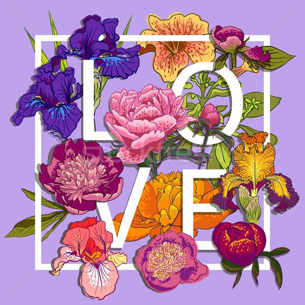 цветочный любви графического дизайна красочный цветы футболки Сток-фото © Mamziolzi
