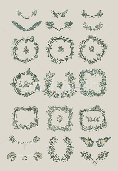 Grande establecer floral diseno gráfico elementos simétrico Foto stock © Mamziolzi