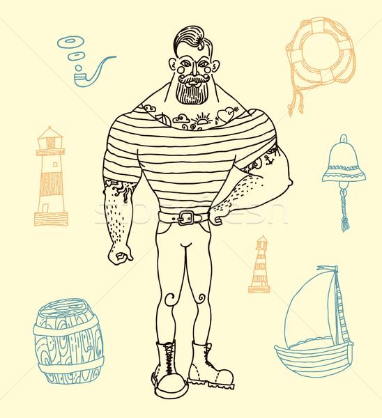 portrait of bearded and tattooed sailor, set Stock photo © Mamziolzi