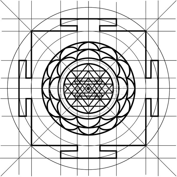 Sree Yantra. Sacred Geometry coloring book vector illustration ...
