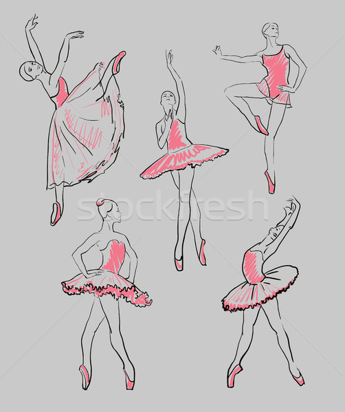 vector sketch of girls ballerinas set  Stock photo © Mamziolzi