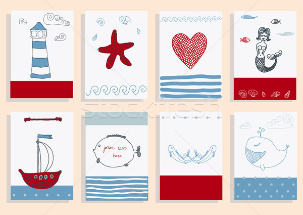 greeting card set cute sea objects collection. Stock photo © Mamziolzi