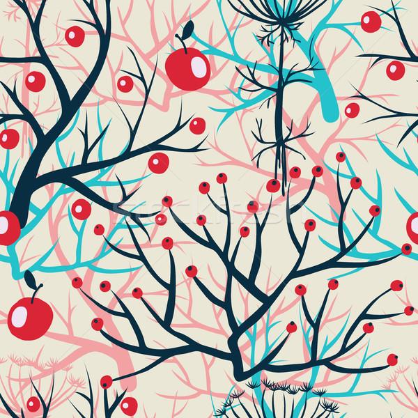 ストックフォト: リンゴ · 液果類 · 支店 · シームレス · 飾り · ベクトル