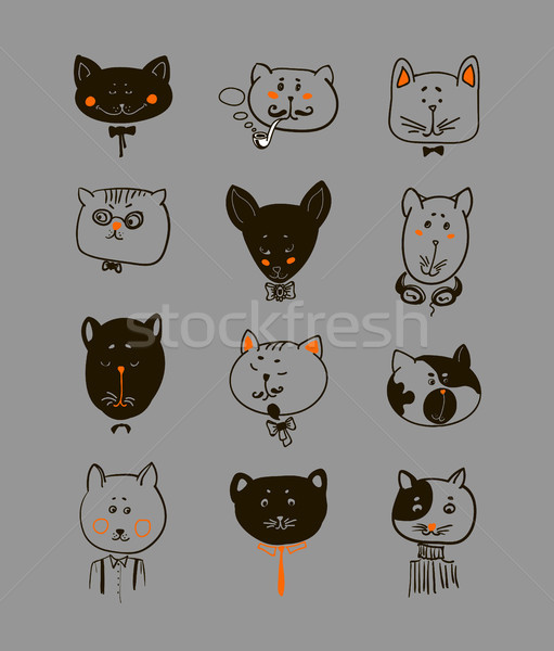 Set of cats heads. Face  Vector illustration Stock photo © Mamziolzi