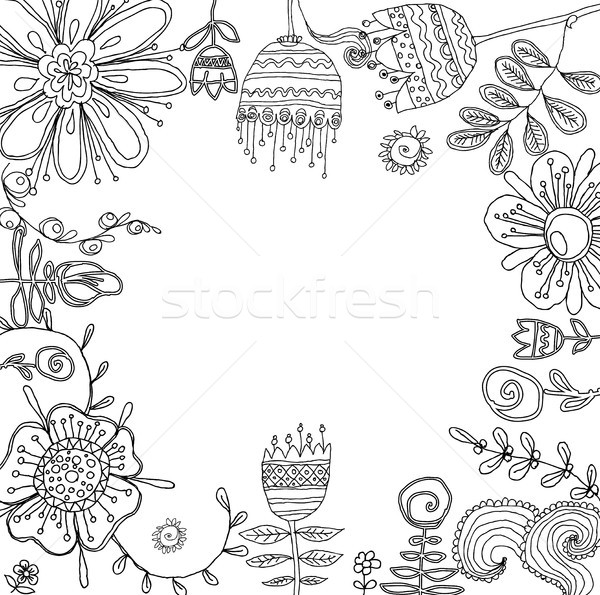 Set of floral graphic design elements for coloring book Stock photo © Mamziolzi