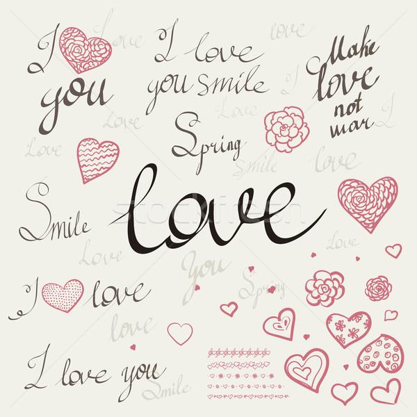 Romantikus kalligráfia kézzel rajzolt szív szavak szeretet Stock fotó © Mamziolzi