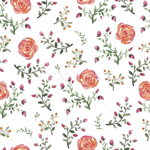 flowers watercolor pattern Stock photo © Mamziolzi