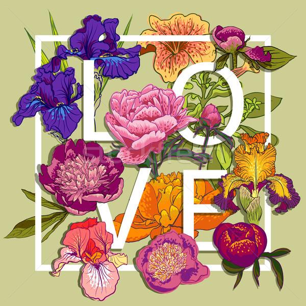 Floral amor diseno gráfico colorido flores camiseta Foto stock © Mamziolzi
