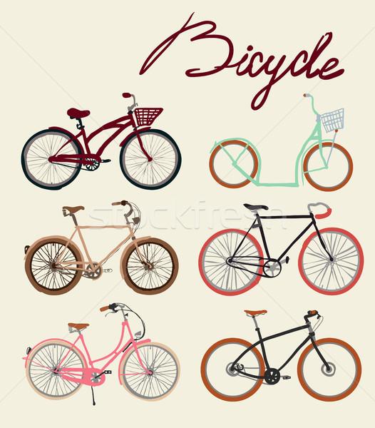 Vintage bicycle Set. Vector illustration. Stock photo © Mamziolzi