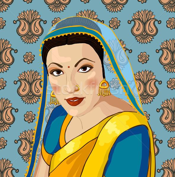 Portrait of a beautiful Indian woman in sari Stock photo © Mamziolzi