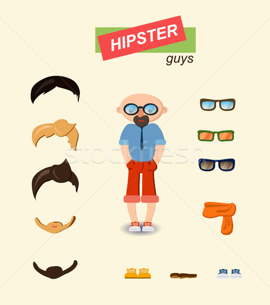 Hipster guys fashion set Stock photo © Mamziolzi