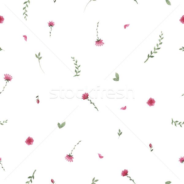 Fiori acquerello pattern floreale rosa Foto d'archivio © Mamziolzi