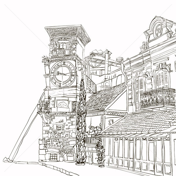 Stock photo: Tbilisi, Georgia, a sketch of a curve tower with a clock and an art cafe near Puppet Theater