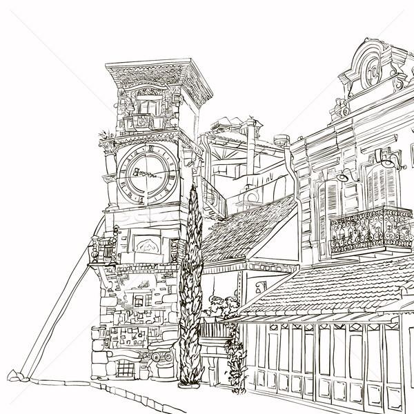 Rajz görbe torony óra művészet kávézó Stock fotó © Mamziolzi