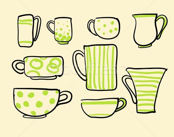 Zestaw wektora ikona herbaty kubki do kawy Zdjęcia stock © Mamziolzi