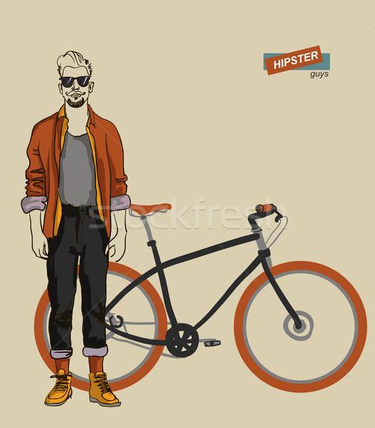 young man on a bike Stock photo © Mamziolzi