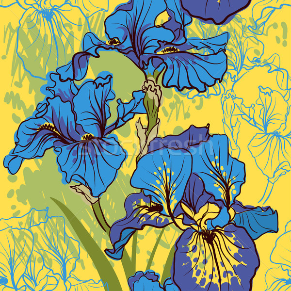 Decorativo iris flor retro colores Foto stock © Mamziolzi