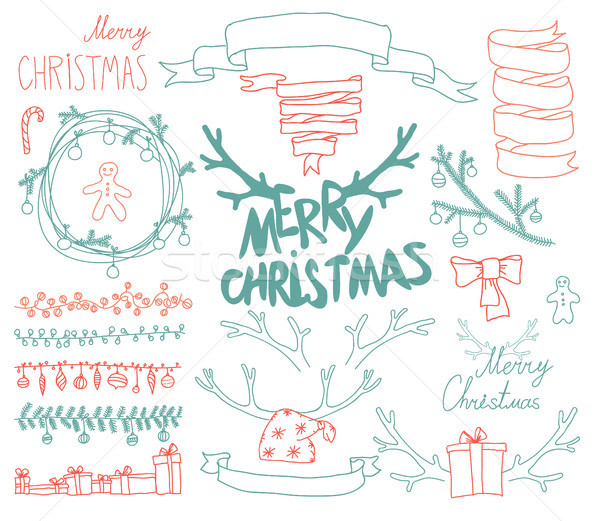 Vector establecer Navidad diseno elementos Foto stock © Mamziolzi