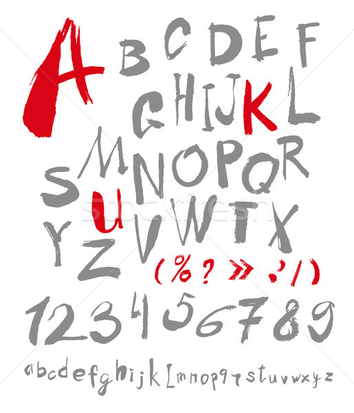 Alphabet letters lowercase, uppercase and numbers.  Stock photo © Mamziolzi