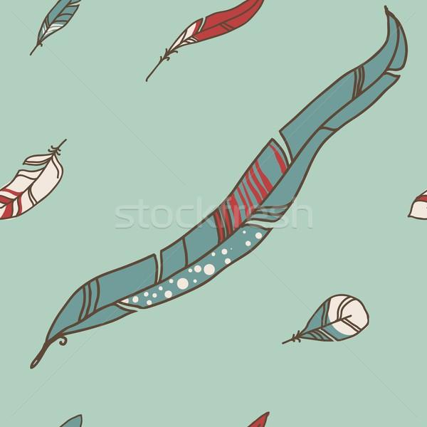 Vektor végtelen minta tollazat pasztell háttér művészet Stock fotó © Mamziolzi
