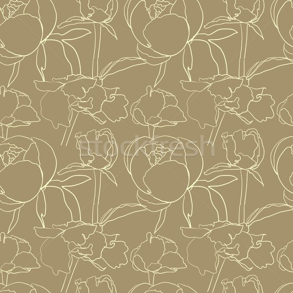 Stock photo: Seamless floral background with peonies