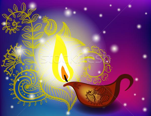 diwali festival with beautiful lamps. Stock photo © Mamziolzi