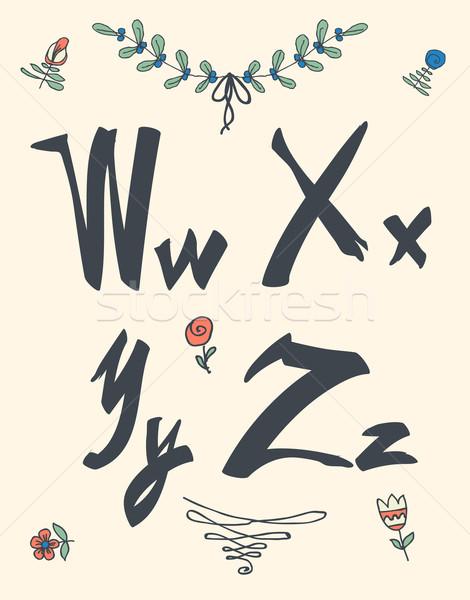 Hand drawn sketch alphabet. Handwritten font. Stock photo © Mamziolzi